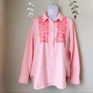 J Crew Embroidered Top Soft Size 10 Striped